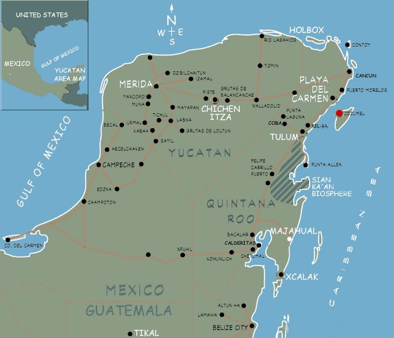 east coast of mexico map